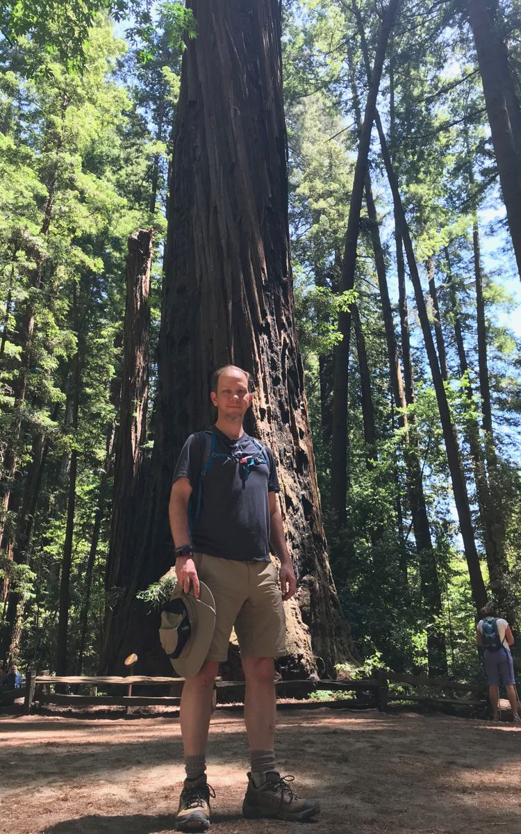 Ben and a redwood at Henry Cowell State Park.