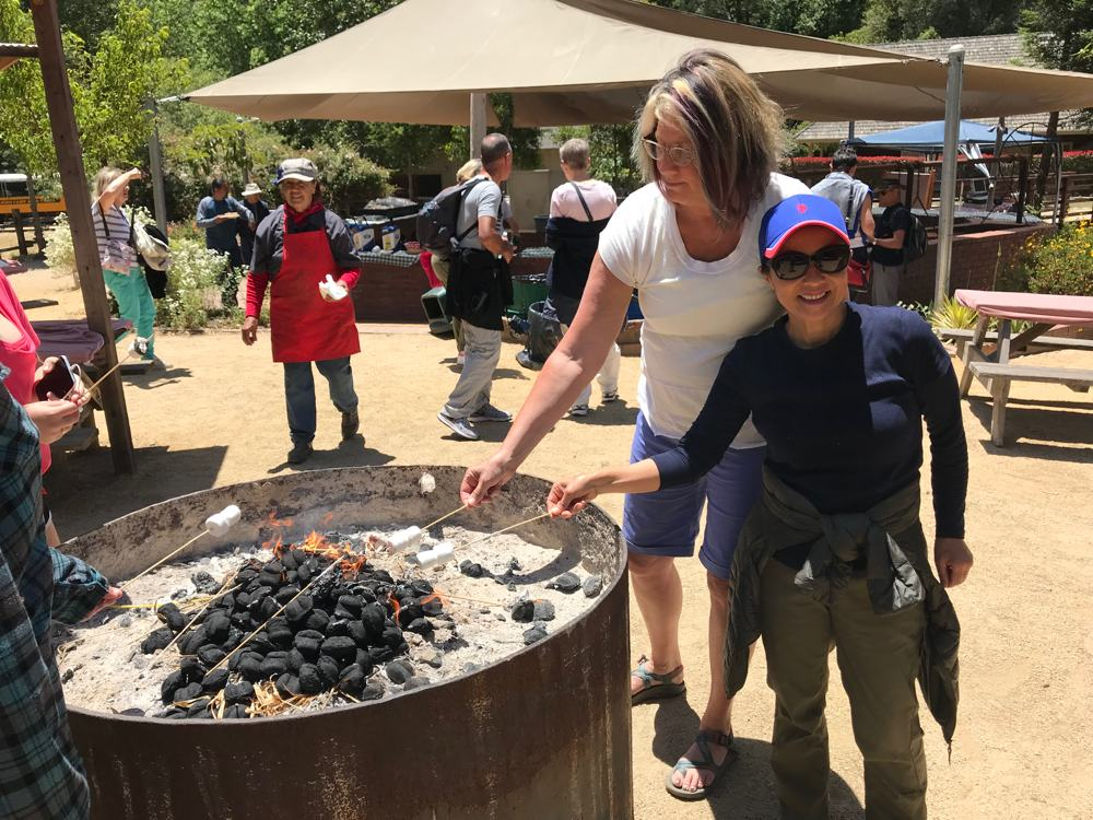 Roasting marshmallows at Roaring Camp.
