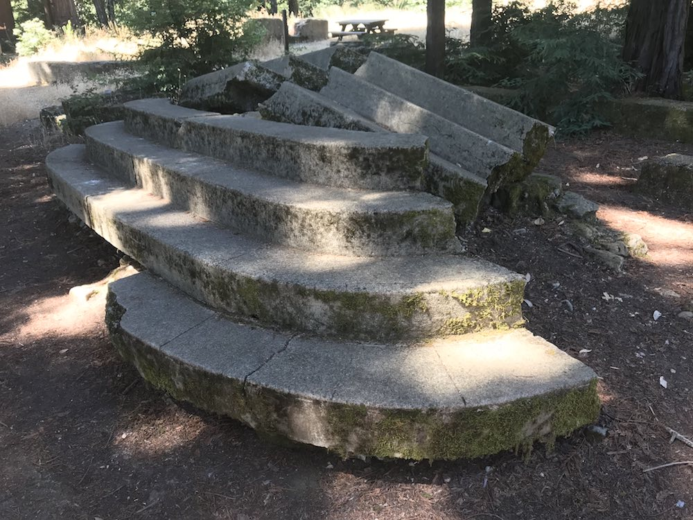 Crumbling steps at the Miller Estate ruins