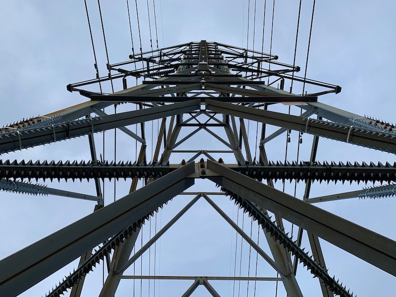 Electrical tower from underneath