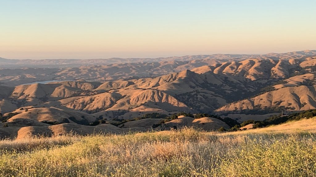 Looking across hills to the north at sunset